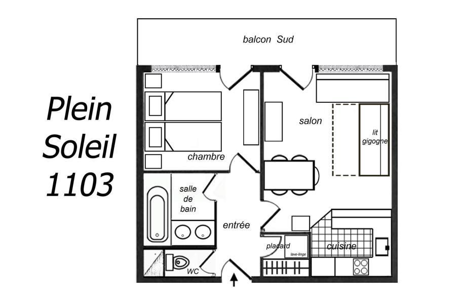 Location au ski Appartement 2 pièces 5 personnes (1103) - Résidence Plein Soleil - Méribel-Mottaret