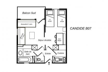 Location au ski Appartement 1 pièces 4 personnes (B07) - Résidence Candide - Méribel-Mottaret - Plan