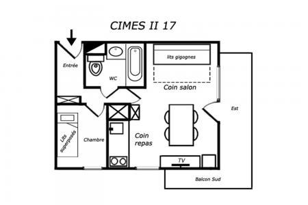 Location au ski Appartement 2 pièces 4 personnes (017) - Résidence Cimes II - Méribel-Mottaret - Plan