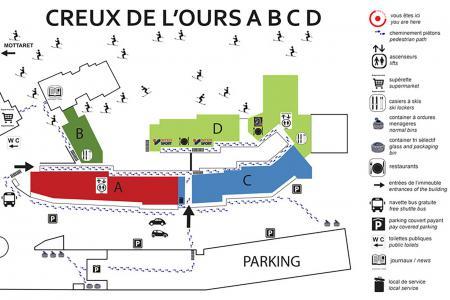 Location au ski Résidence Creux de l'Ours Bleu - Méribel-Mottaret - Plan