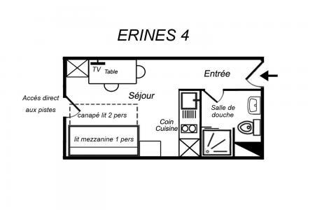 Location au ski Studio 2 personnes (004) - Résidence Erines - Méribel-Mottaret - Plan