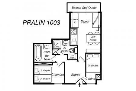 Location au ski Appartement 2 pièces cabine 5 personnes (1003) - Résidence le Pralin - Méribel-Mottaret