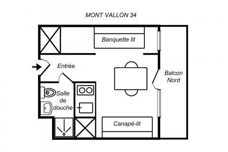 Location au ski Studio 3 personnes (034) - Résidence Mont Vallon - Méribel-Mottaret - Plan