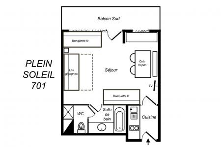 Location au ski Studio 3 personnes (701) - Résidence Plein Soleil - Méribel-Mottaret