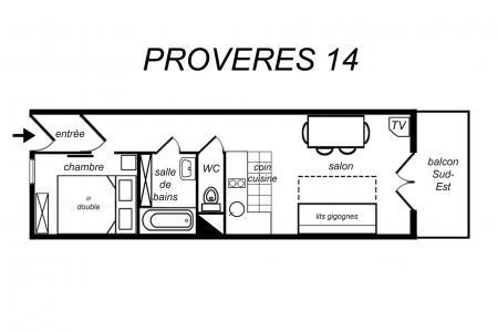 Location au ski Appartement 2 pièces 4 personnes (014) - Résidence Provères - Méribel-Mottaret - Plan