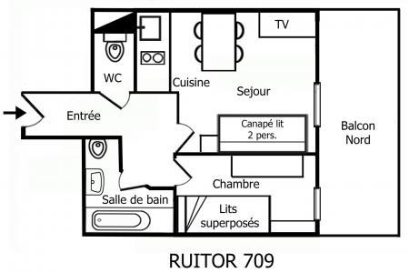 Location au ski Appartement 2 pièces 4 personnes (709) - Résidence Ruitor - Méribel-Mottaret - Plan
