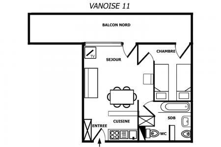 Location au ski Appartement 2 pièces 4 personnes (011) - Résidence Vanoise - Méribel-Mottaret - Plan