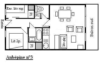 Location au ski Appartement 3 pièces 6 personnes (3) - Residence Aubepine - Méribel - Plan