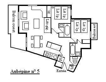 Location au ski Appartement 3 pièces 6 personnes (5) - Residence Aubepine - Méribel - Plan