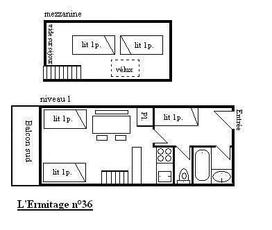 Location au ski Studio duplex 4-5 personnes (36) - Residence L'ermitage - Méribel - Plan