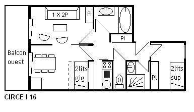 Location au ski Appartement 2 pièces 6 personnes (I16) - Residence Le Cirse - Méribel - Plan