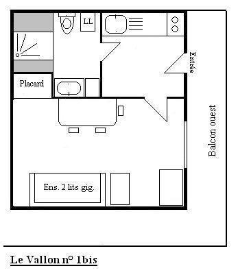 Location au ski Studio 2 personnes (1 BIS) - Residence Le Vallon - Méribel - Plan