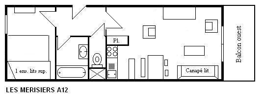 Location au ski Appartement 2 pièces 4 personnes (A12) - Residence Les Merisiers - Méribel - Plan