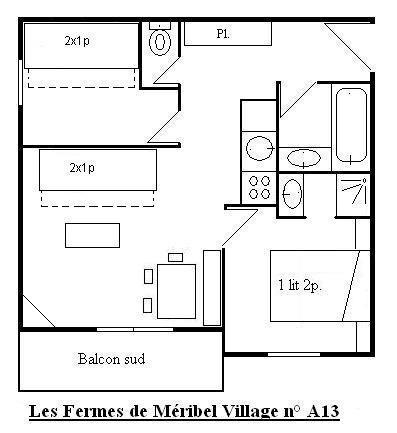 Location au ski Appartement 3 pièces 6 personnes (13) - Les Fermes de Méribel Village - Méribel - Plan