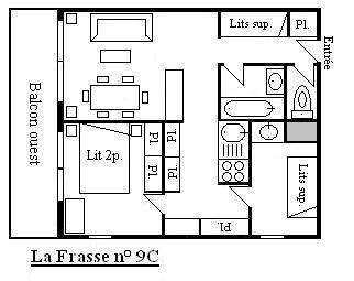 Location au ski Appartement 3 pièces 6 personnes (9C) - Résidence Frasse - Méribel - Plan