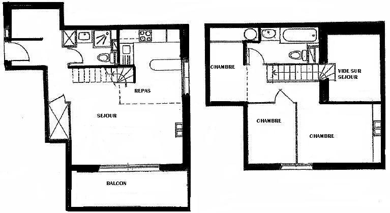 Location au ski Appartement duplex 4 pièces 6 personnes (07) - Residence Frenes - Méribel - Plan