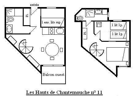 Location au ski Appartement 3 pièces 6 personnes (11) - Résidence Hauts de Chantemouche - Méribel - Plan