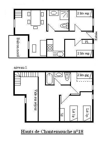 Location au ski Appartement duplex 5 pièces 8 personnes (18) - Résidence Hauts de Chantemouche - Méribel - Plan