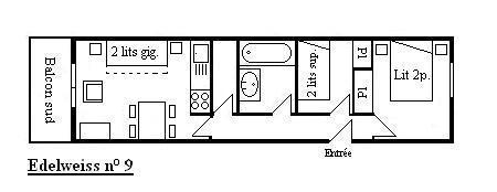 Location au ski Appartement 3 pièces 5 personnes (09) - Résidence l'Edelweiss - Méribel - Plan