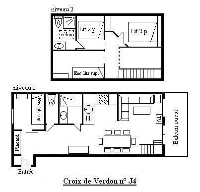 Location au ski Appartement duplex 5 pièces cabine 8 personnes (J4) - Residence La Croix De Verdon - Méribel