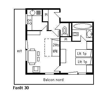 Location au ski Appartement 2 pièces 4 personnes (30) - Résidence la Forêt - Méribel - Plan