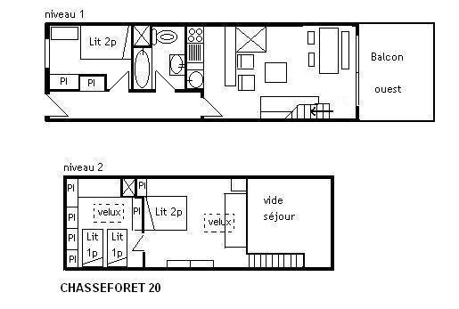 Alquiler al esquí Apartamento dúplex 3 piezas 7 personas (20) - Résidence le Chasseforêt - Méribel - Plano