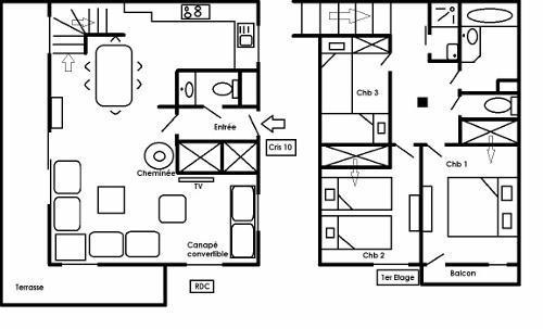 Location au ski Appartement duplex 4 pièces 8 personnes (10 R) - Residence Le Cristal - Méribel