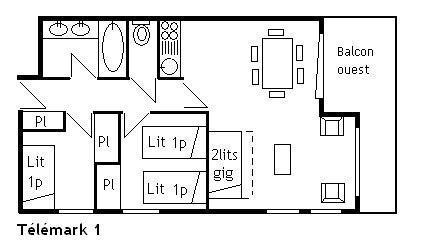 Alquiler al esquí Apartamento 3 piezas para 5 personas (1) - Résidence le Télémark - Méribel