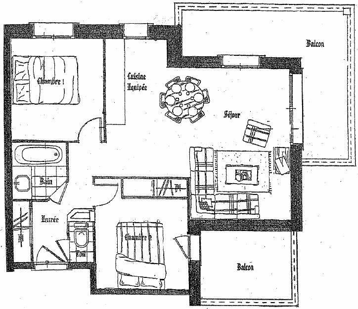 Location au ski Appartement 3 pièces 6 personnes (A6) - Residence Les Jardins Du Morel - Méribel - Plan