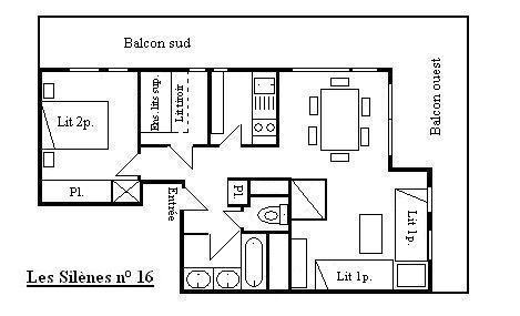 Location au ski Appartement 3 pièces 7 personnes (16) - Résidence les Silènes - Méribel - Plan