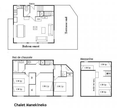 Location au ski Chalet 5 pièces mezzanine 10 personnes - Chalet Manekineko - Méribel - Plan