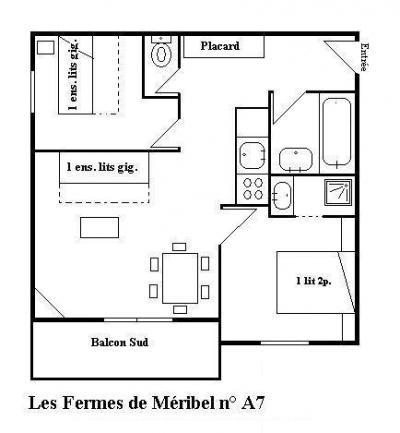 Location au ski Appartement 3 pièces 6 personnes - Les Fermes de Méribel Village - Méribel - Plan