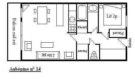 Location au ski Appartement 2 pièces 4 personnes (14) - Résidence Aubépine - Méribel - Plan