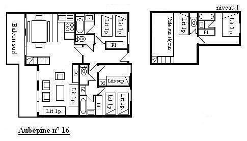 Location au ski Appartement duplex 5 pièces 10 personnes (16) - Residence Aubepine - Méribel - Plan