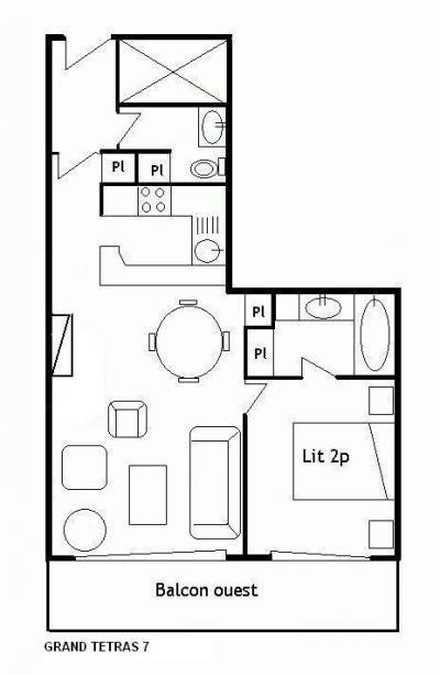 Location au ski Appartement 4 pièces 8 personnes (13) - Residence Grand Tetras - Méribel - Plan