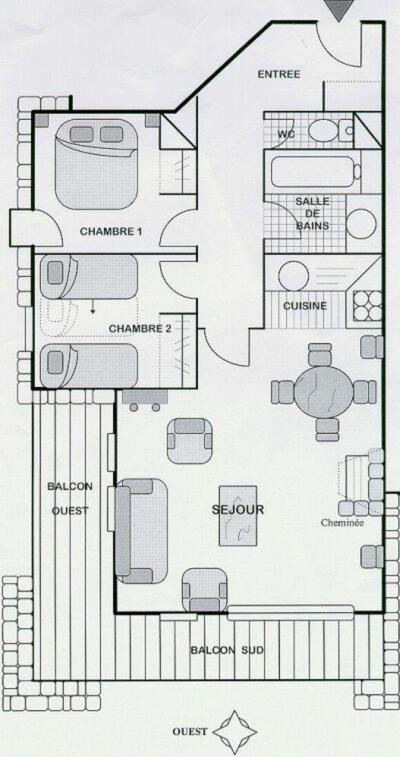 Location au ski Appartement 3 pièces 6 personnes - Residence L'aubepine - Méribel - Plan