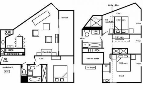 Location au ski Appartement duplex 4 pièces coin montagne 8 personnes - Residence L'aubepine - Méribel - Plan