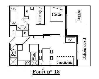 Location au ski Appartement 2 pièces 6 personnes (18) - Résidence la Forêt - Méribel - Plan