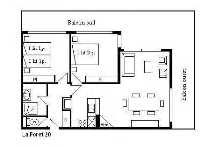 Location au ski Appartement 3 pièces 6 personnes (20) - Résidence la Forêt - Méribel - Plan