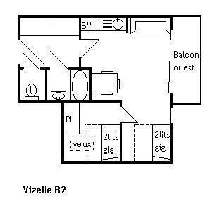 Rent in ski resort 2 room apartment 4 people (B2) - Résidence la Vizelle - Méribel - Plan