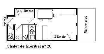 Location au ski Studio 4 personnes (20) - Résidence le Chalet de Méribel - Méribel - Plan