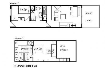 Location au ski Appartement duplex 3 pièces 6 personnes (20) - Residence Le Chasseforet - Méribel - Plan
