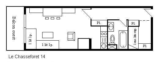 Location au ski Studio 4 personnes (14) - Residence Le Chasseforet - Méribel - Plan