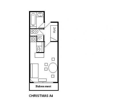 Location au ski Studio 4 personnes (A4) - Residence Le Christmas - Méribel - Plan