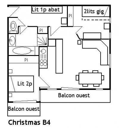 Location au ski Appartement 3 pièces 5 personnes (B4) - Residence Le Christmas - Méribel - Plan