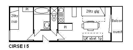 Location au ski Appartement 2 pièces 4 personnes (I5) - Résidence le Cirsé - Méribel - Plan