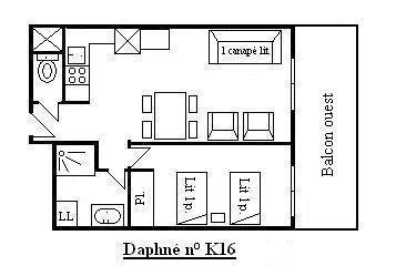 Location au ski Appartement 2 pièces 4 personnes (K16) - Résidence le Daphné - Méribel - Plan