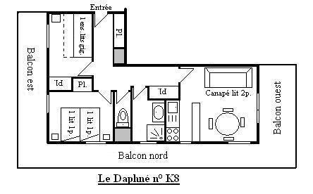 Location au ski Appartement 3 pièces 6 personnes (K8) - Residence Le Daphne - Méribel - Plan