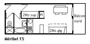 Location au ski Studio 4 personnes (015) - Résidence le Méribel - Méribel - Plan