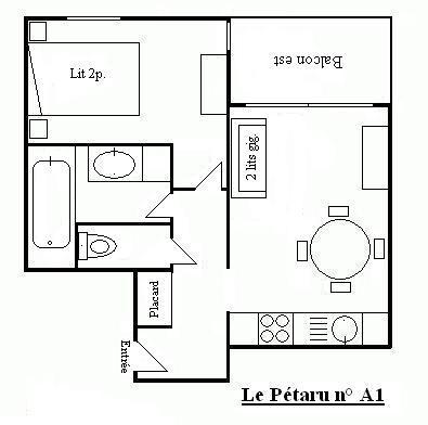 Location au ski Appartement 2 pièces 4 personnes (A1) - Residence Le Petaru - Méribel - Plan